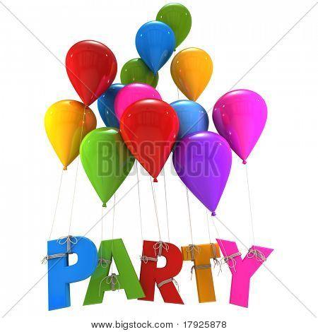 Representación 3D de un grupo de globos multicolores de vuelo con la fiesta de la palabra colgando de las cuerdas