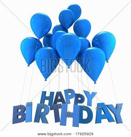 3D rendering of a group of balloons with the words happy birthday hanging from the strings in blue shades