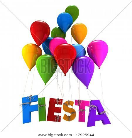 3D rendering of a group of multicolored flying balloons with the word fiesta hanging from the strings
