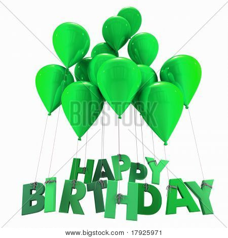 3D rendering of a group of balloons with the words happy birthday hanging from the strings in green shades