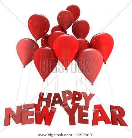 3D rendering of the words Happy New Year hanging form flying balloon strings in red shades