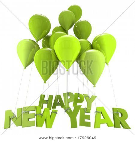 3D rendering of the words Happy New Year hanging form flying balloon strings in green shades New Year, congratulations, party, celebration, greetings, greetings card,  balloon,