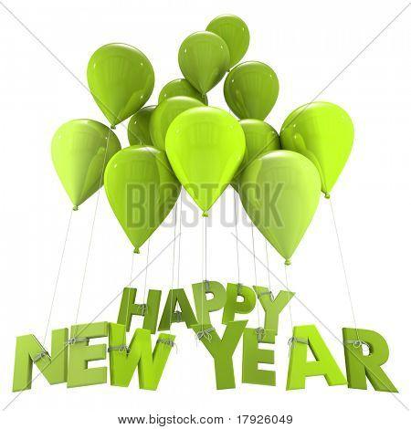 3D-Rendering des Vordrucks hängenden Happy New Year Wörter fliegen Ballon Zeichenfolgen in Grüntönen neue ja