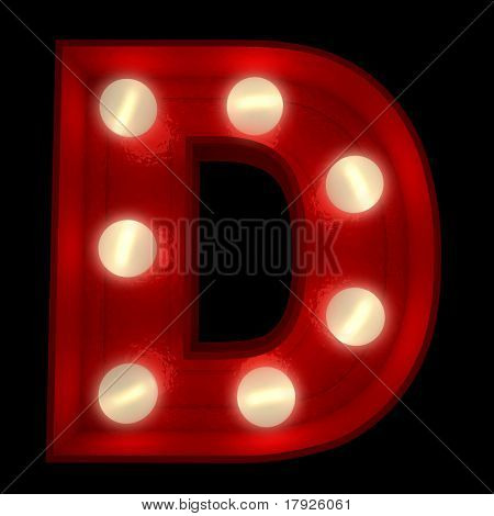 3D rendering of a glowing letter D ideal for show business signs