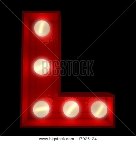 3D rendering of a glowing letter L ideal for show business signs