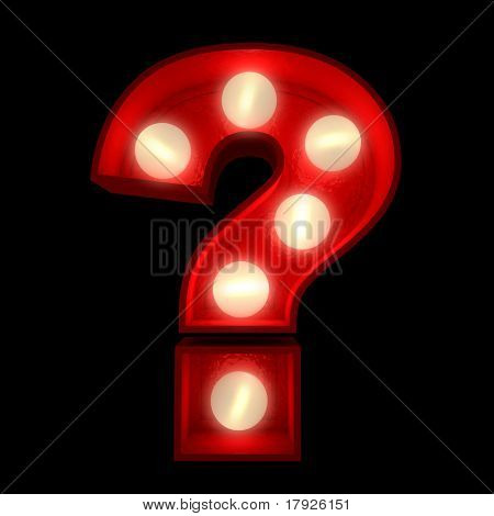 3D rendering of a glowing question mark, part of an Alphabet ideal for show business signs