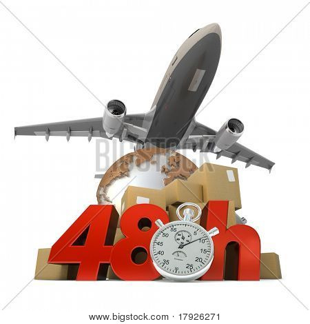 3D rendering of  a pile of packages a van, a truck and an airplane with the words 48 Hrs and a chronometer