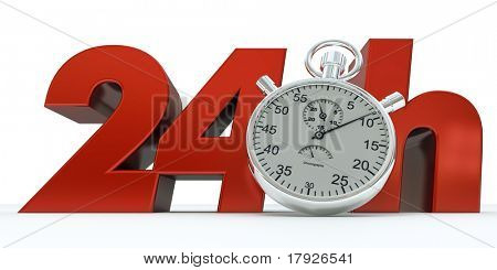 3D rendering of 24 H in red letters with a stopwatch