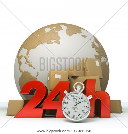 3D rendering of the Earth a pile of boxes and the words 24Hrs and a chronometer