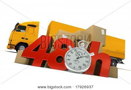 3D rendering of  a pile of packages  and a truck with the words 48 Hrs and a chronometer.