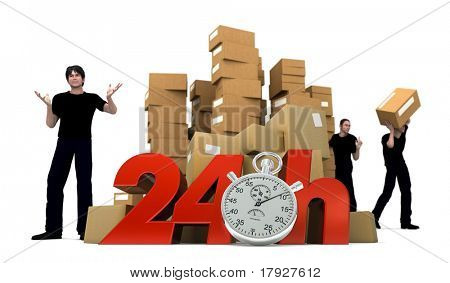 3D rendering of piles of cardboard boxes and three workers with the words 24 Hrs and a Chronometer