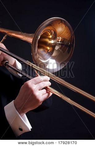 Trombone On Black