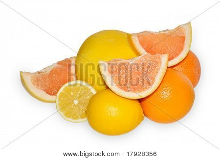 Orange Fruit, Yellow Grapefruit And Lemon