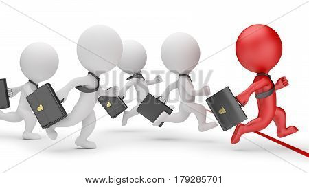 3d small people - business sprint. 3d image. White background.
