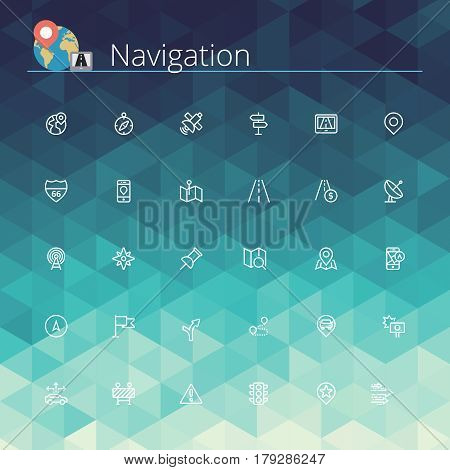 Navigation and location line icons set. Pixel perfect icons. Vector illustration. Geometric background.