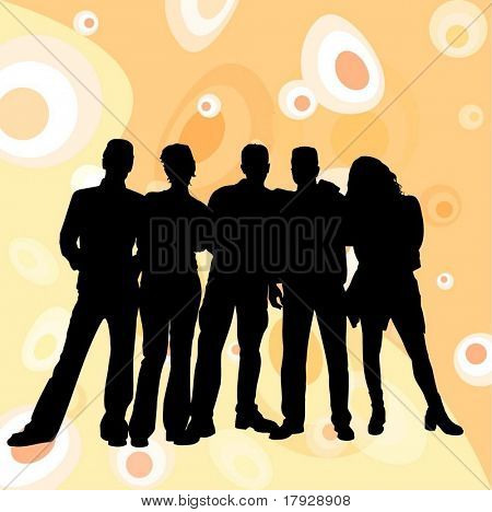 Young people silhouettes on retro background - fully editable vector image