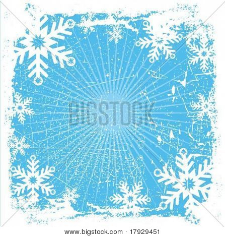 Grunge snowflake background - vector