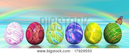 Easter Colored Eggs And Rainbow