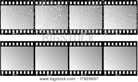 Film strips, one with grunge effect - vector