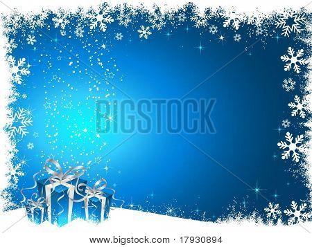 Regalos de Navidad en fondo Nevado