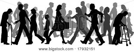 Silhouettes of lots of people walking