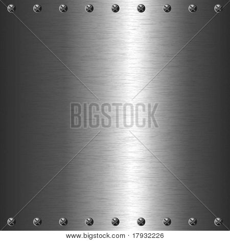 Metal plate background with screws
