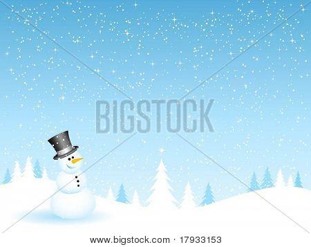 Schneemann in einer verschneiten Nacht