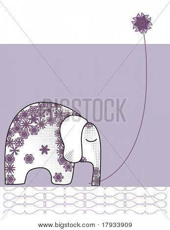 Elefante indio con flor