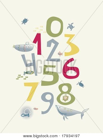 vector Numbers Nursery Poster with baby sea life