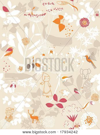 Vektor retro whimsical floral seamless Pattern mit Kinder Grafiken
