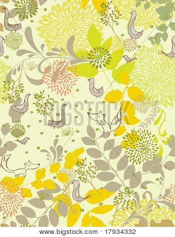Vector Pattern with birds and flowers. (seamless)