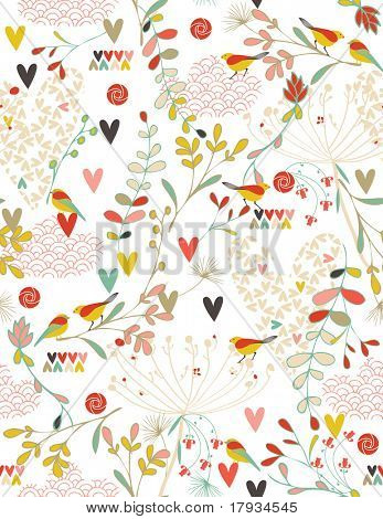 Flowers and Hearts in a Spring Kimono (seamless pattern)