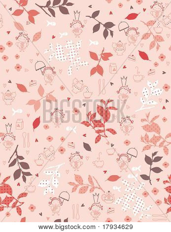 Vector Tea Garden (seamless pattern)