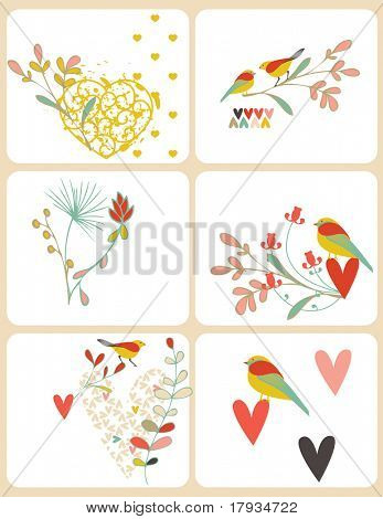 Vector Bird and Hearts (Graphics Set)