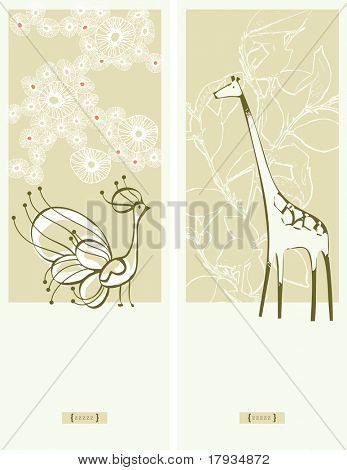 Vector Giraffe and Peacock (Graphic Set)