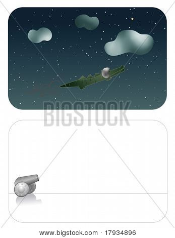 Vector cannon crocodile flying  (Front and Back Graphic Set)