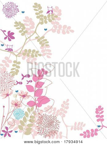 Vector Pink Floral Border (Graphics Set)