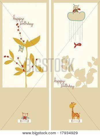 Vector Floral con Búho y jirafa (conjunto de gráficos)