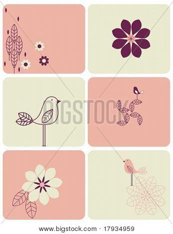 Vektor-Vogel und Blume (Grafik-Set)