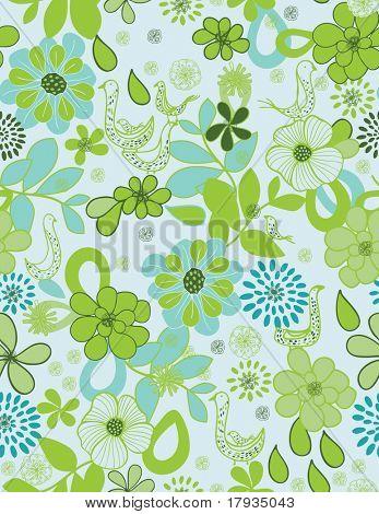 Vector Floral Aqua (patrón)