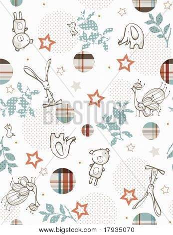 Vektor Baby hübsch Dschungel Freunde (Seamless Pattern)
