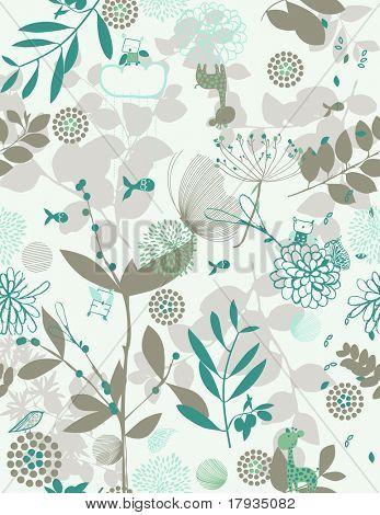 Vector Retro Floral (sin patrón)