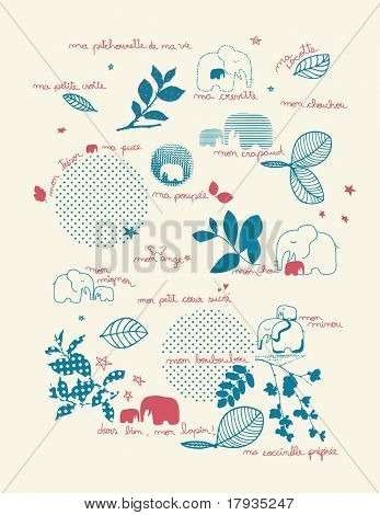 Vector French terms of endearment with cute baby graphics