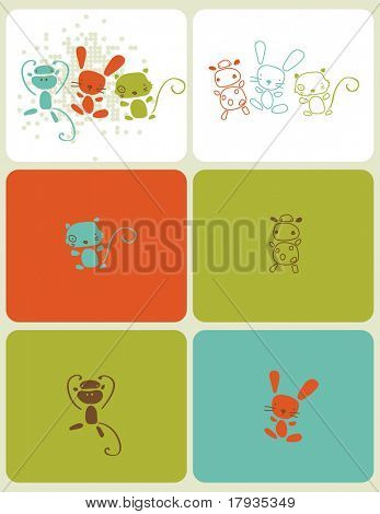 Vector graphic set showcasing little baby animals in vivid colors