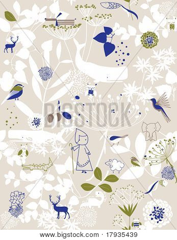 Whimsical vintage floral with cute little animals drawings (Seamless Pattern)
