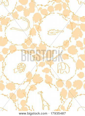 Vector seamless pattern displaying cute baby jungle animals inside circles.