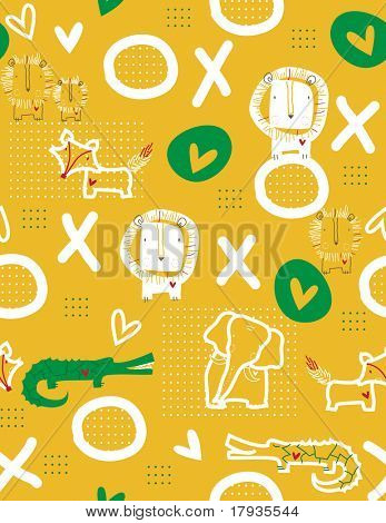 Vector seamless pattern displaying little lion and friends playing tic-tac-toe.