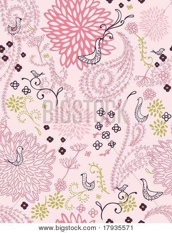 Vector seamless pattern displaying curly feminine garden and little birds.