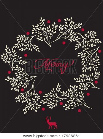 Vector graphic featuring a Christmas wreath and deer