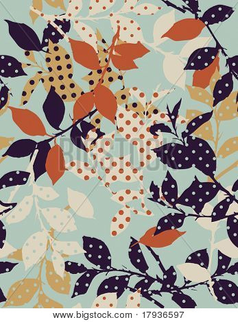Vector seamless pattern displaying leaves silhouette textured in polka dots.